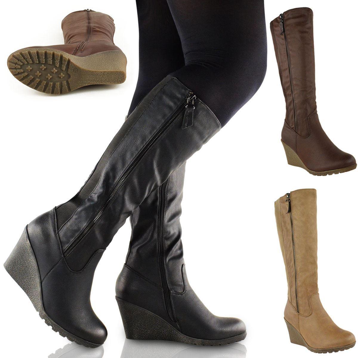 WOMENS LADIES WEDGE HEEL KNEE HIGH MID CALF WIDE LEG ELASTIC WINTER BIKER BOOTS