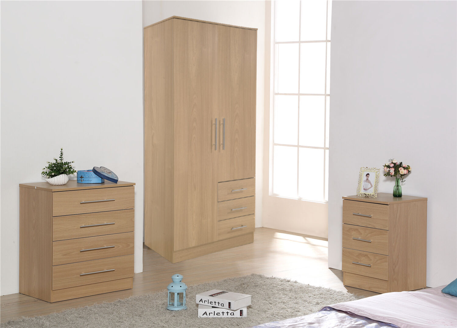Stylish oak trio furniture soft close wardrobe chest of drawers bedside ebay for Bedroom furniture soft close drawers