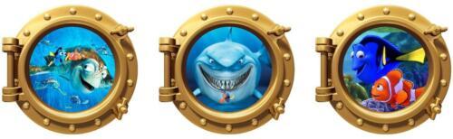 Wall Art Decor Finding Nemo set of 3 Portholes Kids Bedroom Stickers