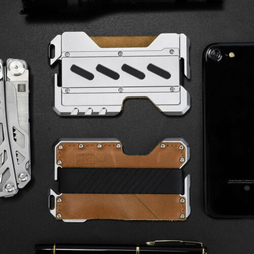 Up to 12 Card EDC Men/'s Military Tactical Multi Tool CNC Metal Leather Wallet