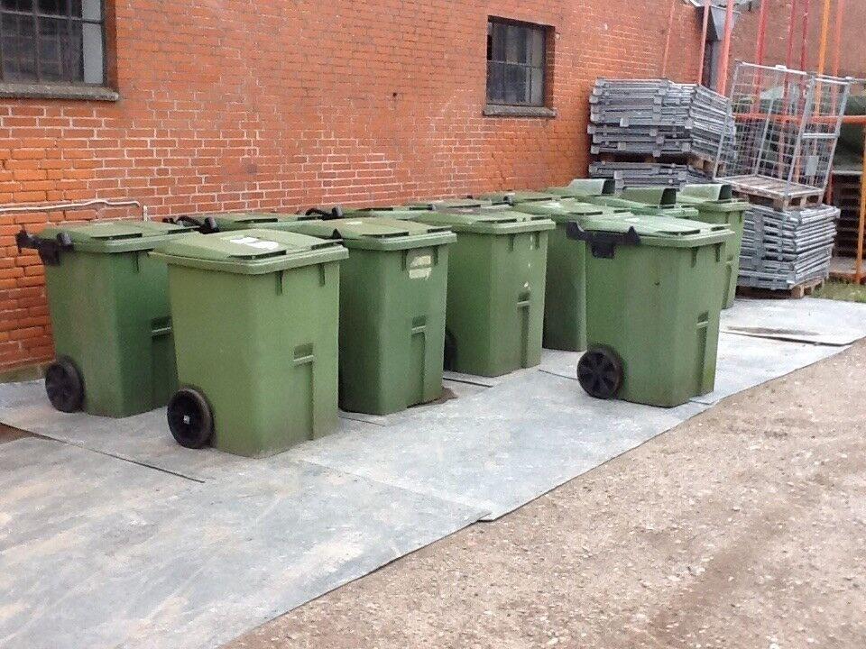 Affaldscontainer grøn 400 ltr m/ låg - pris/ stk