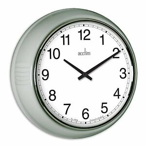 Acctim-27377-Lorene-Touffu-Horloge-Quartz-Mural-etui-d-039-argent-Lentille-en-verre
