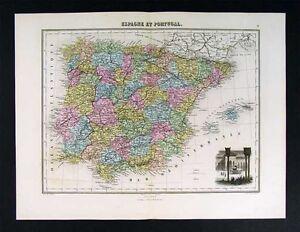 1877-Migeon-Map-Spain-Portugal-Europe-Alhambra-Vignette
