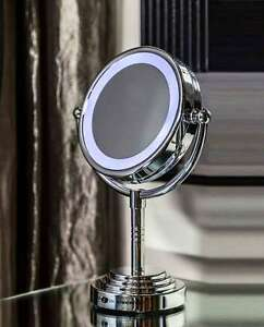 Image Is Loading Vanity Makeup Mirror LED Lighted Tabletop  Chrome Magnifying