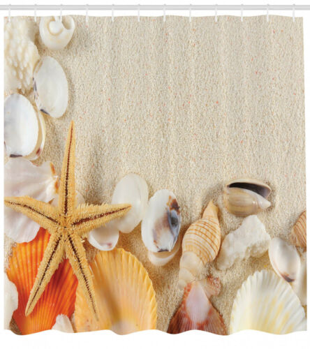 Collection of Seashells Starfish on Sand  Beach Natural Image Shower Curtain Set