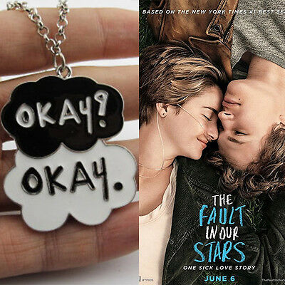 The Fault In Our Stars Okay Pendant Cloud Enamel One Sick Lover Story Necklace