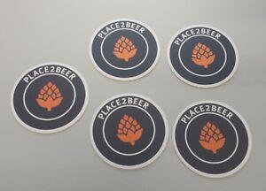 5-Stk-BIERDECKEL-Bierfunzel-place2beer-COASTER-Bierfilz-Bier-Deckel-NEU
