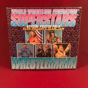 WWF-SUPERSTARS-Wrestlemania-1992-UK-Poster-Pack-7-034-vinyl-single-Bret-Hart-WWE