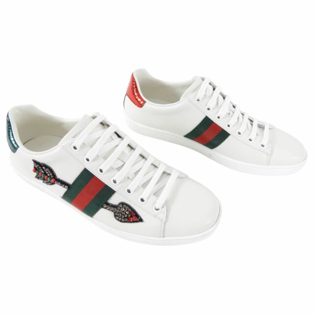 Gucci Ace White Web Stripe Arrow Embellished Sneakers - USA 9