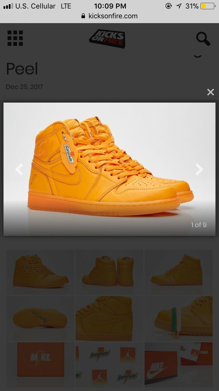 AIR JORDAN RETRO 1 HIGH OG 2018 GATORADE ORANGE PEEL AJ5997-880