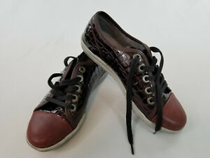 new-Josef-Seibel-women-shoes-leather-sneakers-brown-red-sz-6-US-36-EUR-MSRP