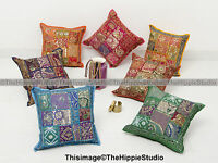 Patchwork Cushion Cover Indian Embroidered Cotton Pillow Case Cover Throw 16""