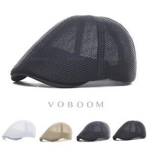 chapeau-de-lierre-Hommes-chapeau-d-039-ete-Mesh-respirant-beret-Cabbie-chapeau-plat
