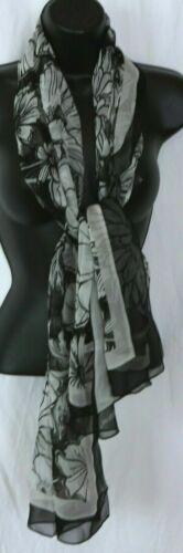 BRIGHTON Black/Pearl Silk Chiffon Floral Print Sca
