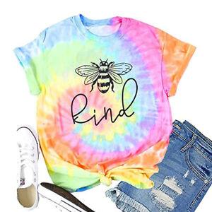 Womens-Ombre-Tie-Dye-T-Shirt-Tee-Blouse-Loose-Ladies-Bee-Sweatshirt-Baggy-Tops