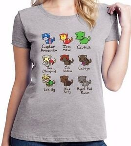 Cat-Avengers-Iron-Man-Marvel-Captain-America-Comic-Ladies-T-Shirt-Top-Tee