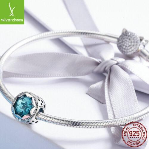 Ciel étoilé Charme Argent Sterling 925 Clair Bleu Pendentif Fit Femmes Bracelet Chaîne
