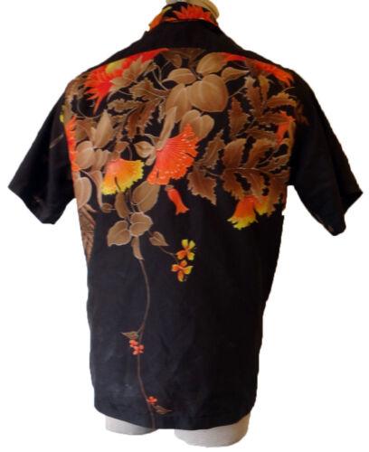Hawaii Manga Vtg Flor corta Marrón Naranja Hawaiian Floral Vintage Camisa wBfOvq