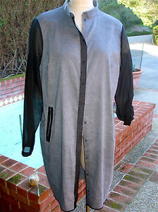 ea817c29a0 Elie Tahari Button Front Linen Dress   XL   SHEER Sleeves   Back ...