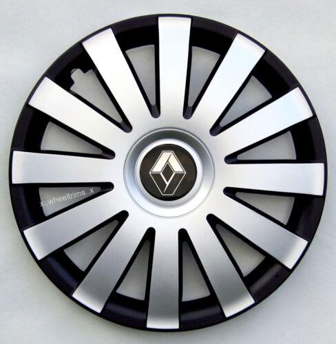 "Marca Nuevo Plata//Negro 15/"" ruedas Adornos Para Encajar Renault Scenic Megane Kangoo"