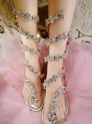 Angle Women Bling Cystal Ankle Snake Strappy  Flip Flops Gladiator Thong Sandal