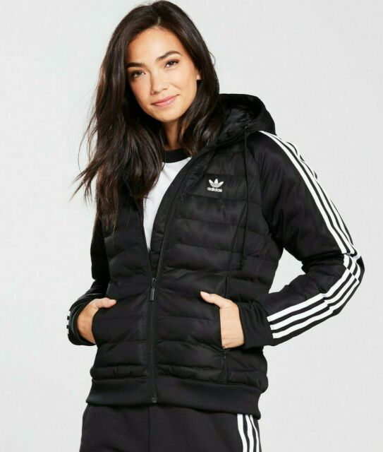 SM adidas Women's Padded 3 STRIPES SLIM HOODED Winter JACKET BLACK LAST 1
