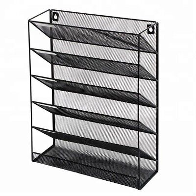 Mesh Wall Literature Holder 5 A4 Compartments Organizer Wall Mounted Black New