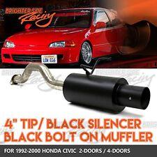 """DIRECT BOLT-ON 92-00 HONDA CIVIC STAINLESS STEEL EXHAUST BLACK MUFFLER 4"""" TIP"""