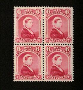 NEWFOUNDLAND-1894-VF-OG-LH-SCOTT-36-4-BLOCK-CARMINE-LAKE-VICTORIA-STAMPS