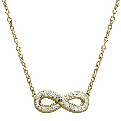 Crystaluxe Infinity Necklace with Swarovski Crystals in 18K Gold over Silver