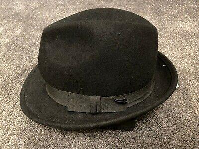 MENS GENTS VTG 40s//50s Style Felt Trilby Hat BNWT//NEW 100/% Wool Fedora S//M 57CM