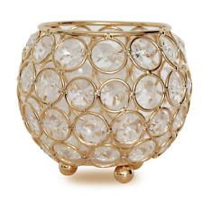 Gold Crystal Beaded Candle Holder Votive Hurricane Tea Light Holders Candlestick