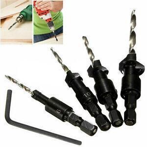 4Pcs HSS Countersink Drill Bit Set Quick Change Hex Shank Screw Tools 6-12#