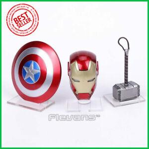 Avengers-Iron-Man-MK43-LED-Light-Base-Helmet-Captain-America-Shield-Thor-Hammer