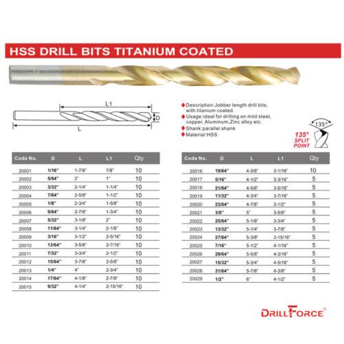 """Drillforce 10PCS 17//64/"""" Titanium Drill Bits Set HSS Metal Woodworking Drill Bit"""