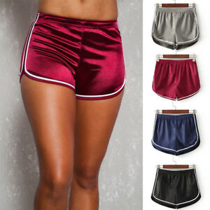 Womens-Satin-Yoga-Shorts-Workout-Track-Shorts-Running-Gym-Fitness-Hot-Pants-X224