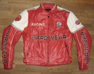034-HARDWEAR-034-Herren-Motorrad-Lederjacke-Biker-Jacke-rot-ca-Gr-48