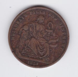 1858-Token-1-Penny-Professor-Holloway-039-s-Pills-amp-Ointment-London-England-GB-T-215