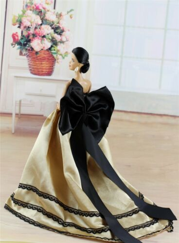 Fashion Royalty Princess Golden Dress Gown Clothes For 11.5in.Doll c052