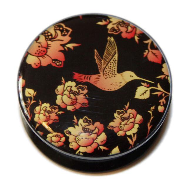 Black Orange Hummingbird Flowers PMMA Acrylic Screw-Fit Ear Flesh Plug Tunnel