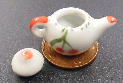 Appena 1:12 White Ceramica Teiera + Ciliegia Motivo