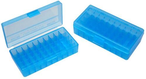 MTM Case-Gard Flip Top Handgun Ammunition Ammo Storage Box 50 Round P50-44 Blue