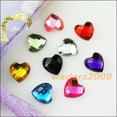 70 New Charms Mixed Lovely Heart Faceted Acrylic Rhinestone Flat Back 10mm