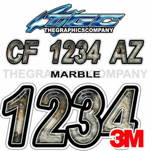 Lite Tan Custom Boat Registration Numbers Decals Vinyl Lettering Stickers USCG