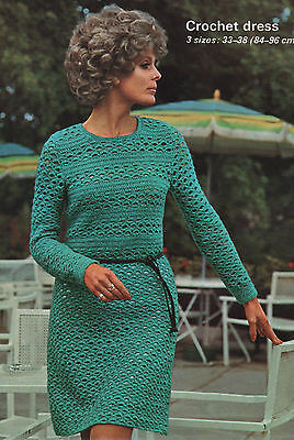 33 to 38 Inch Bust. Vintage Crochet Pattern for Lady/'s Dress//Tunic