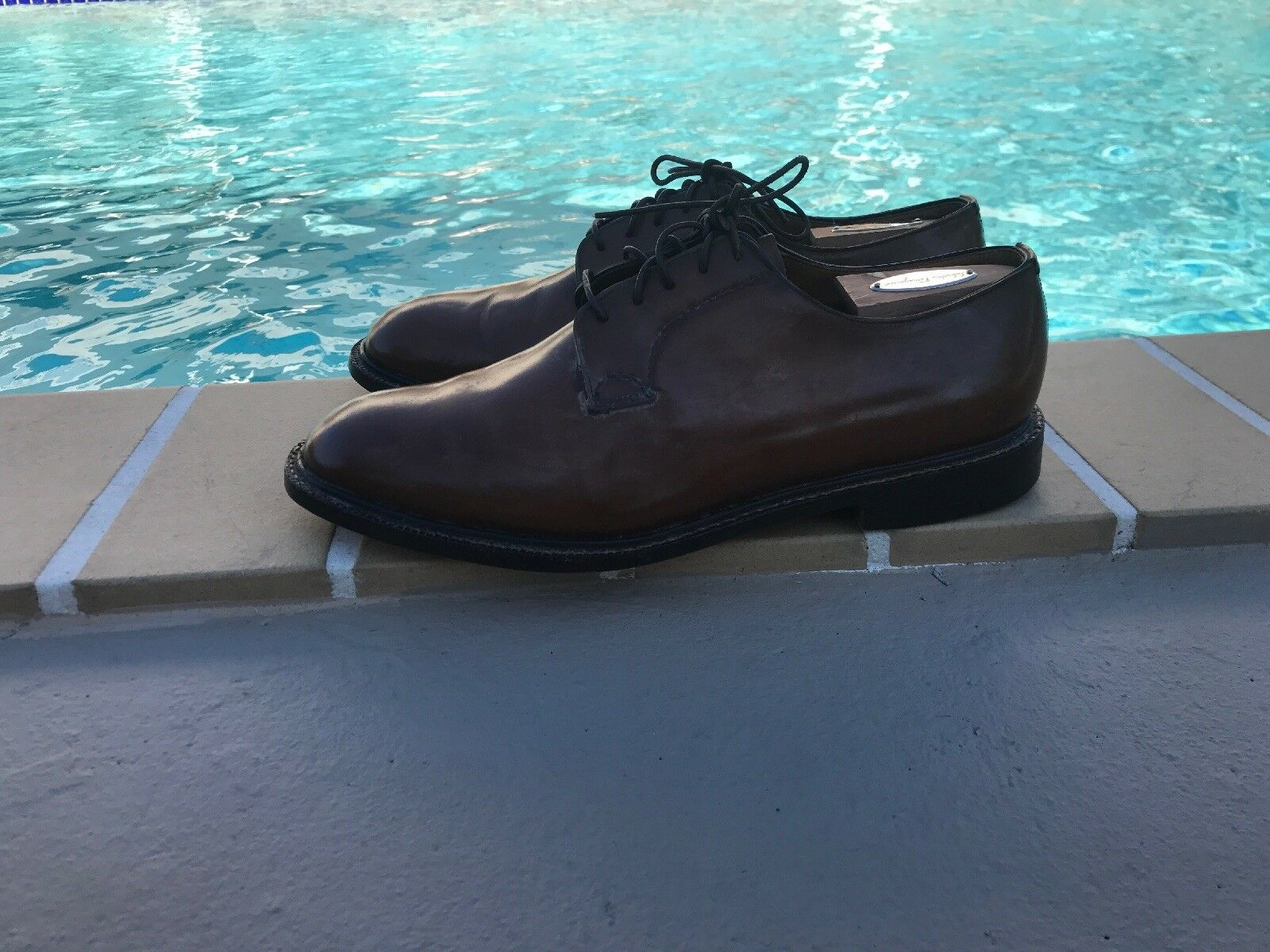 CHURCHS HANDMADE BROWN LEATHER LACED LOAFER DRESS SHOES Sz  8 9 MADE IN ENGLAND