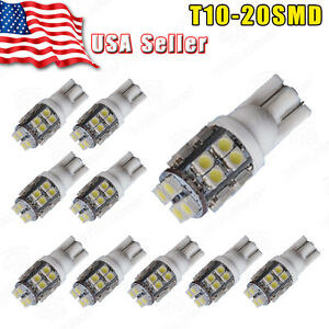 10x T10 20-SMD LED 6000k White Super Bright Interior Light Bulb 194 168 2825 W5W 6874783688649