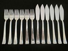 WMF 2500 Bauhaus 90 Silber Fischbesteck 12 Teile 6 Fischmesser + 6 Fischgabel