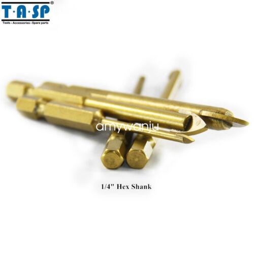 """Verre 5PC Drill Bit Set Avec 1//4/"""" tige hex 3//4//6//8//10mm Carbide Revêtement Titane"""