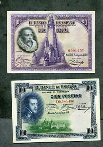 LOTE-4-BILLETES-PESETAS-100-1925-100-1928-50-1928-25-1928-los-4-EBC